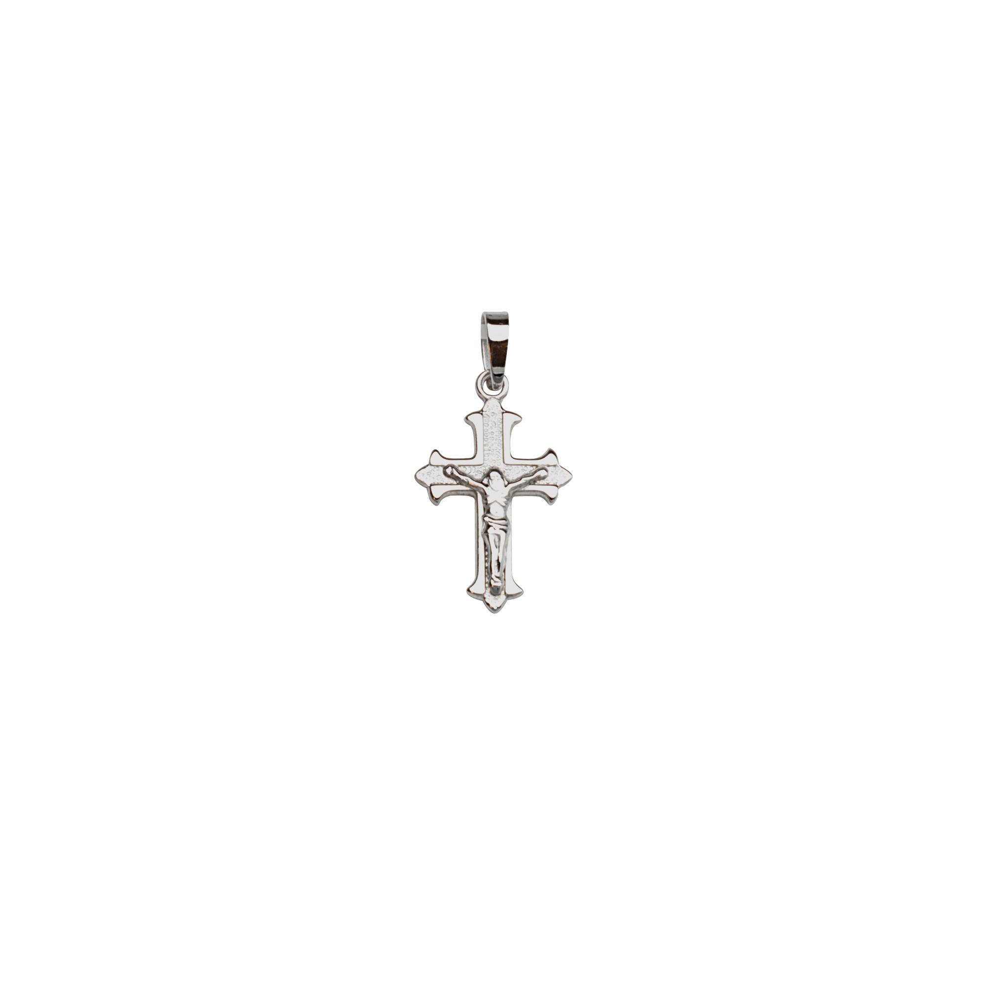 Silver Pendant, Ss Rh Plated Crucifix Pendant