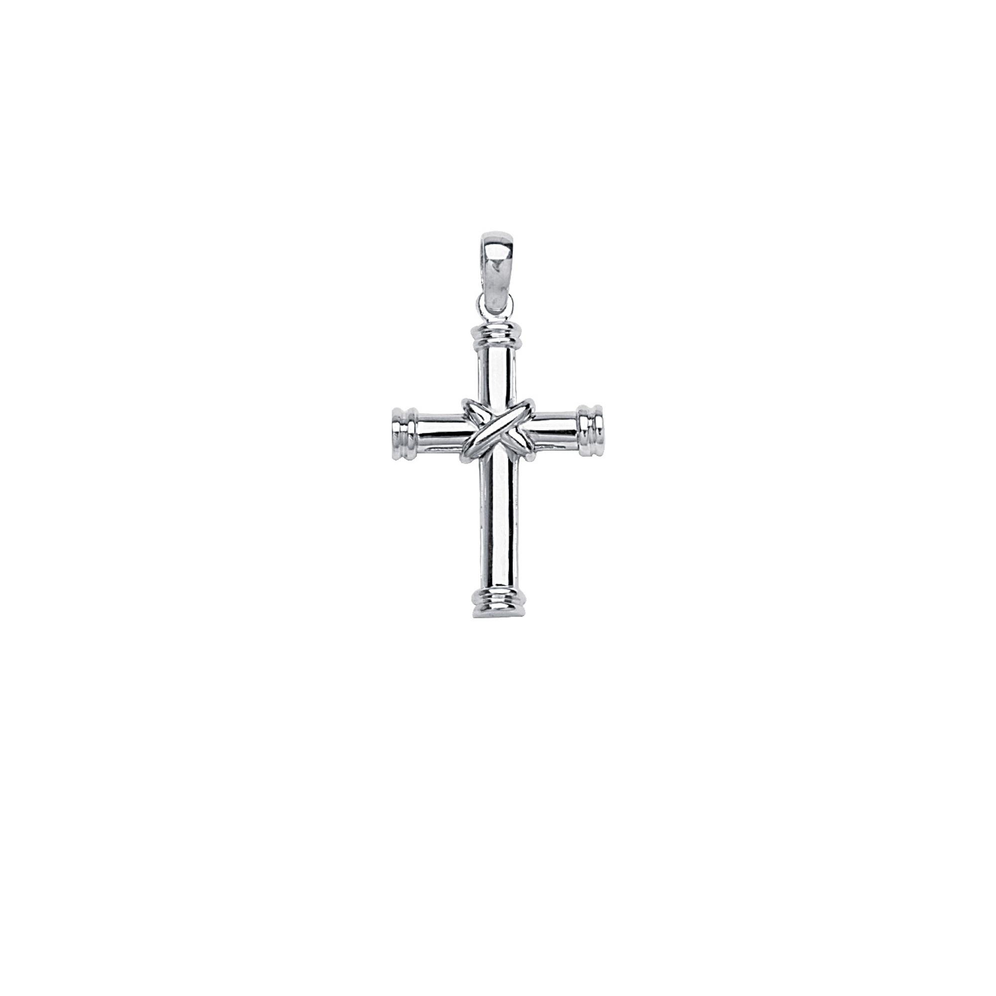 Silver Pendant, Tubular Cross W/X Center Element
