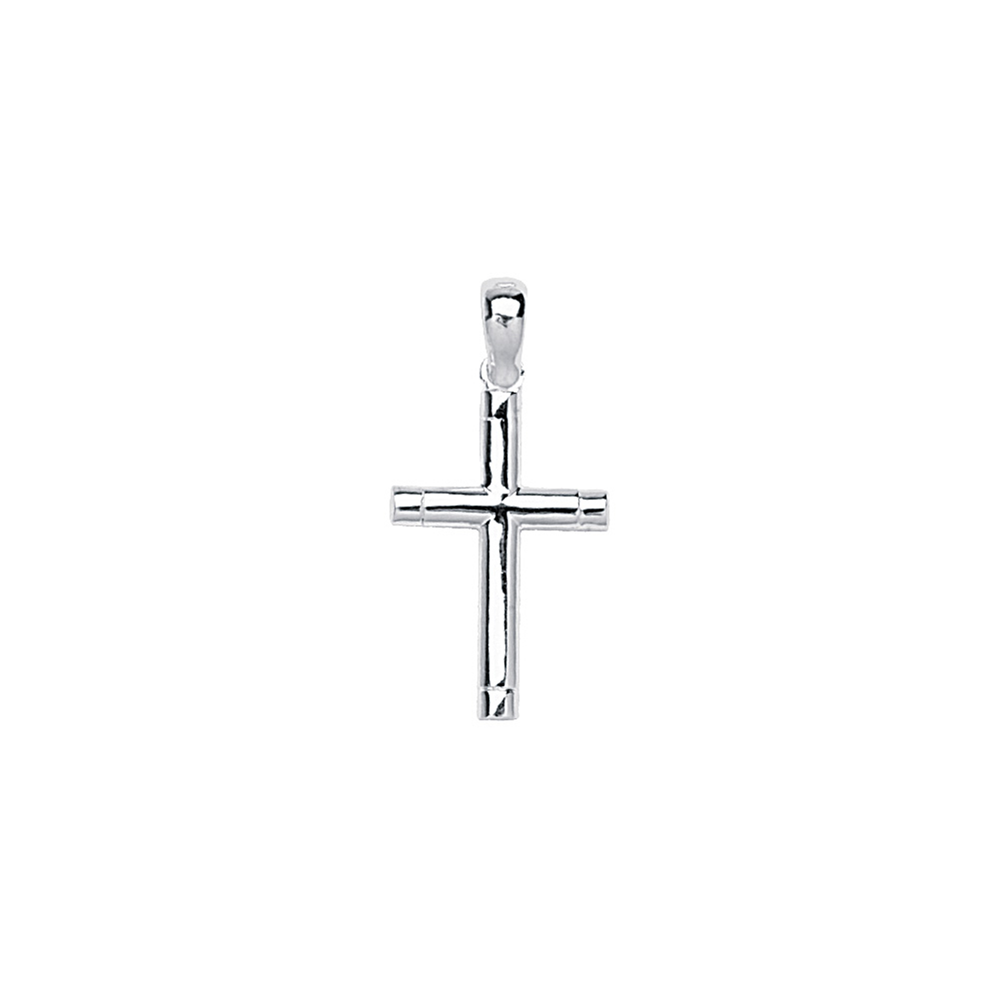 Silver Pendant, Tubular Cross/End Notches