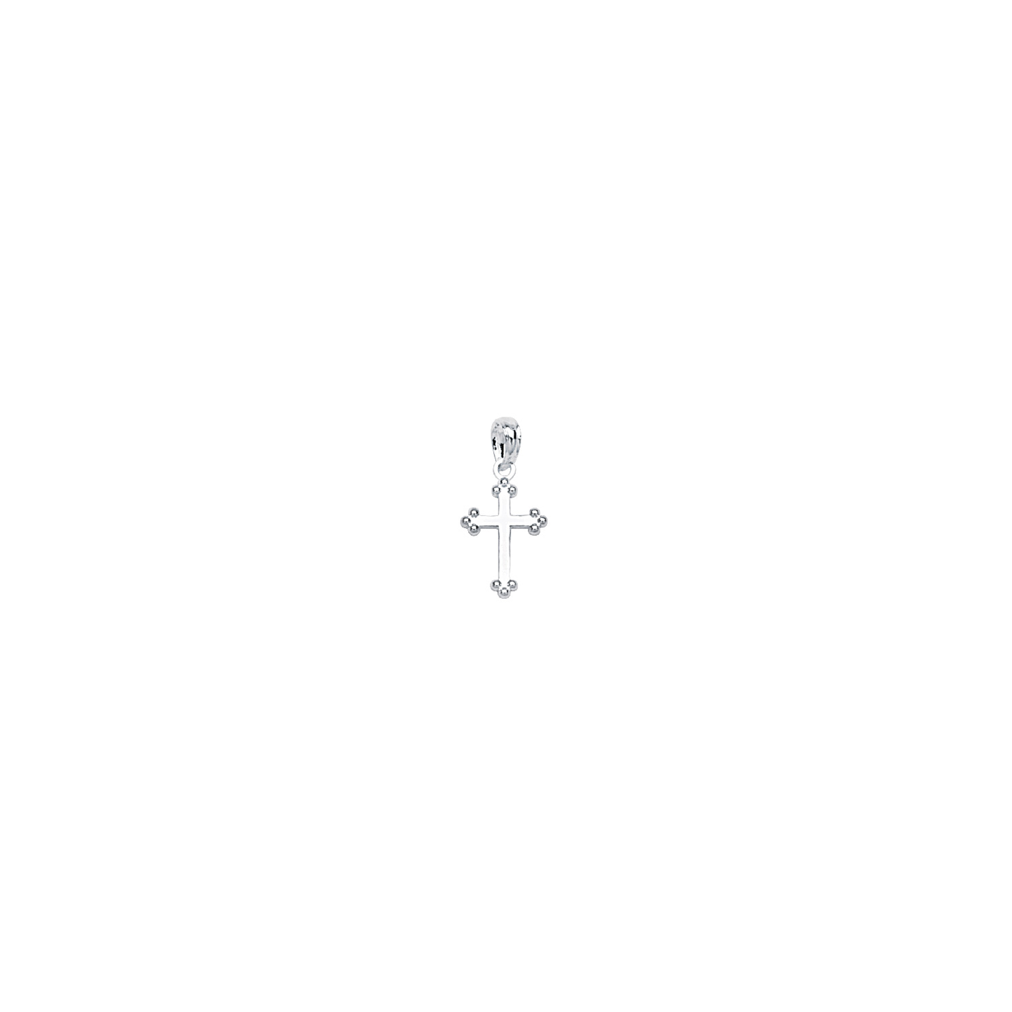 Silver Pendant, Baby Cross W/3 Bead Tips