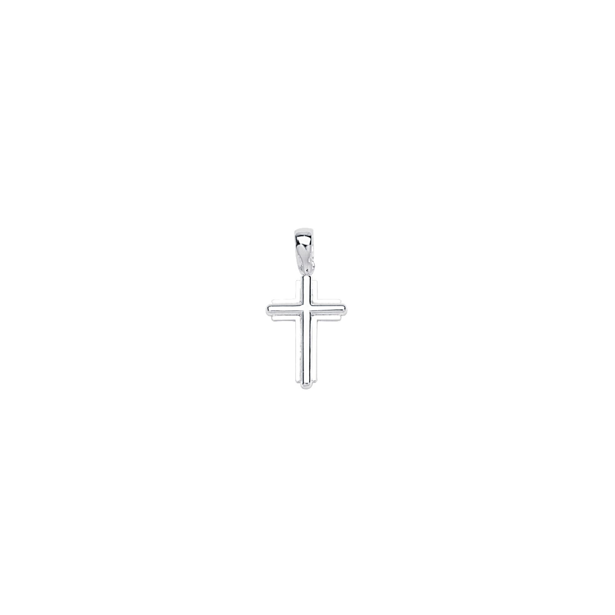 Silver Pendant, Sml Bevelled Stick Cross W/Sqr Frame
