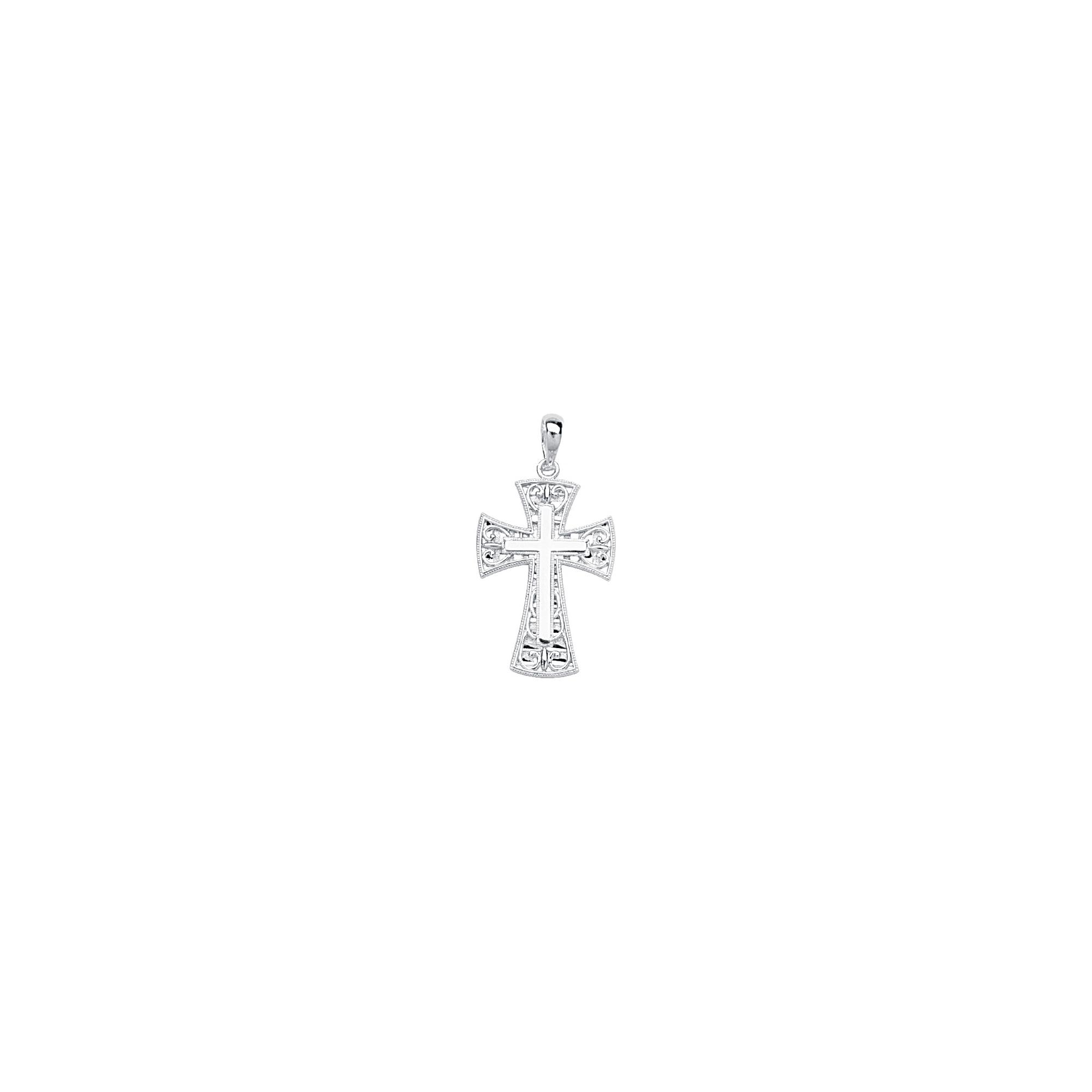 Silver Pendant, Stick Cross/Fancy Filigree Frame
