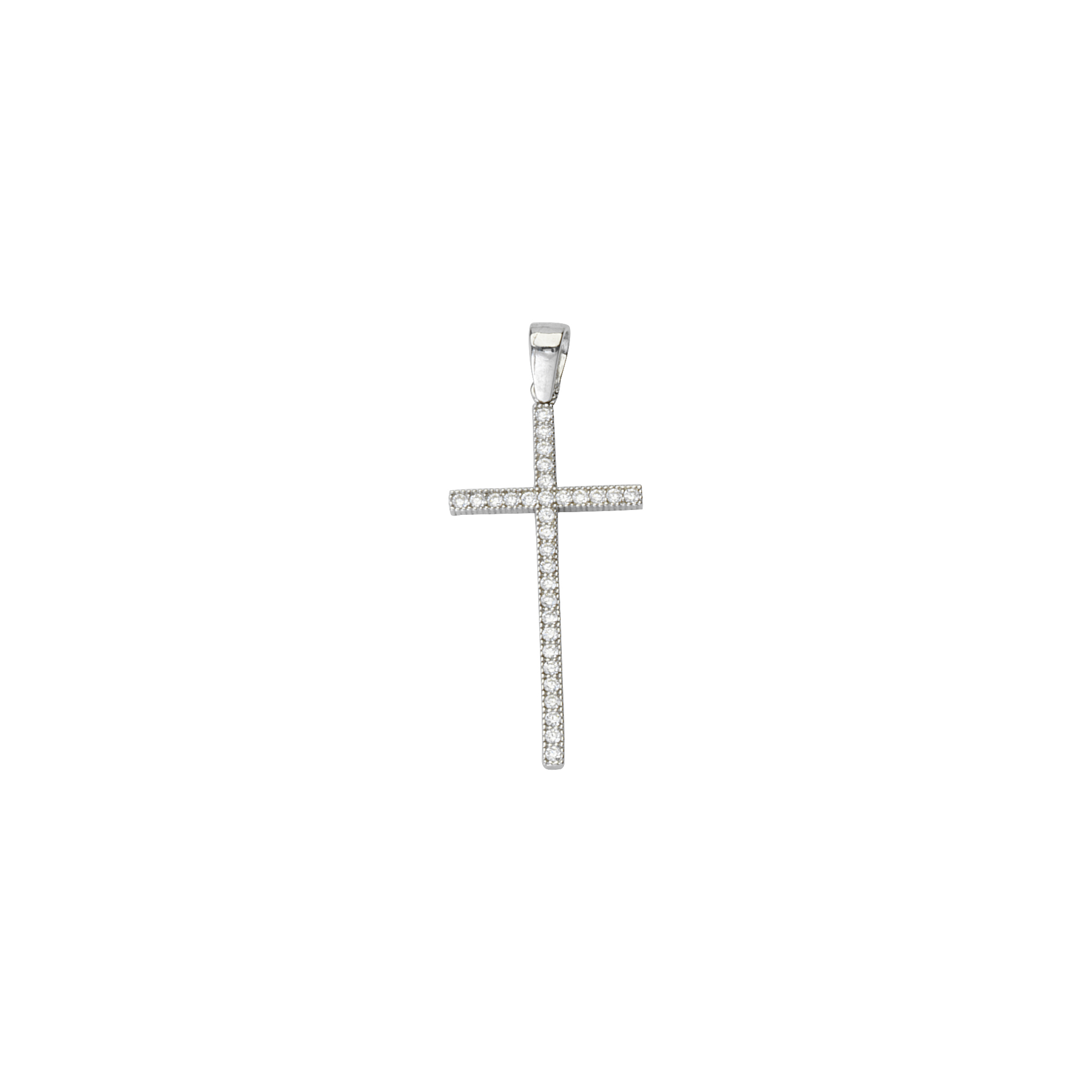 Silver Pendant, Fancy Cz Cross