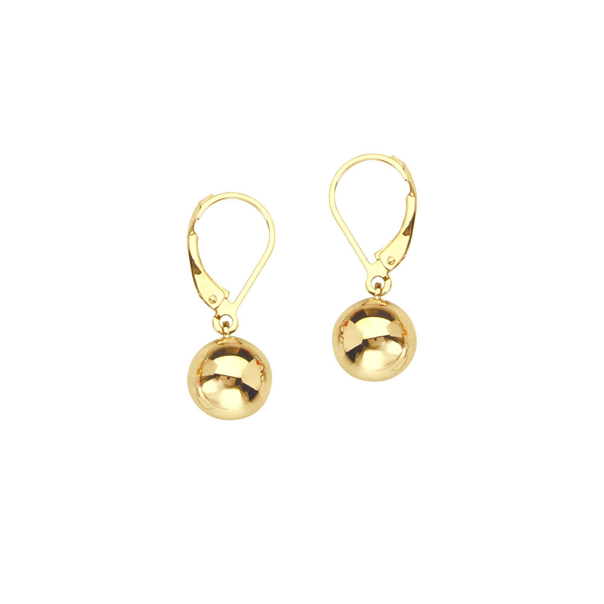 Lever Back Earrings, 14Kt  10Mm Ball Lever Back Earrings