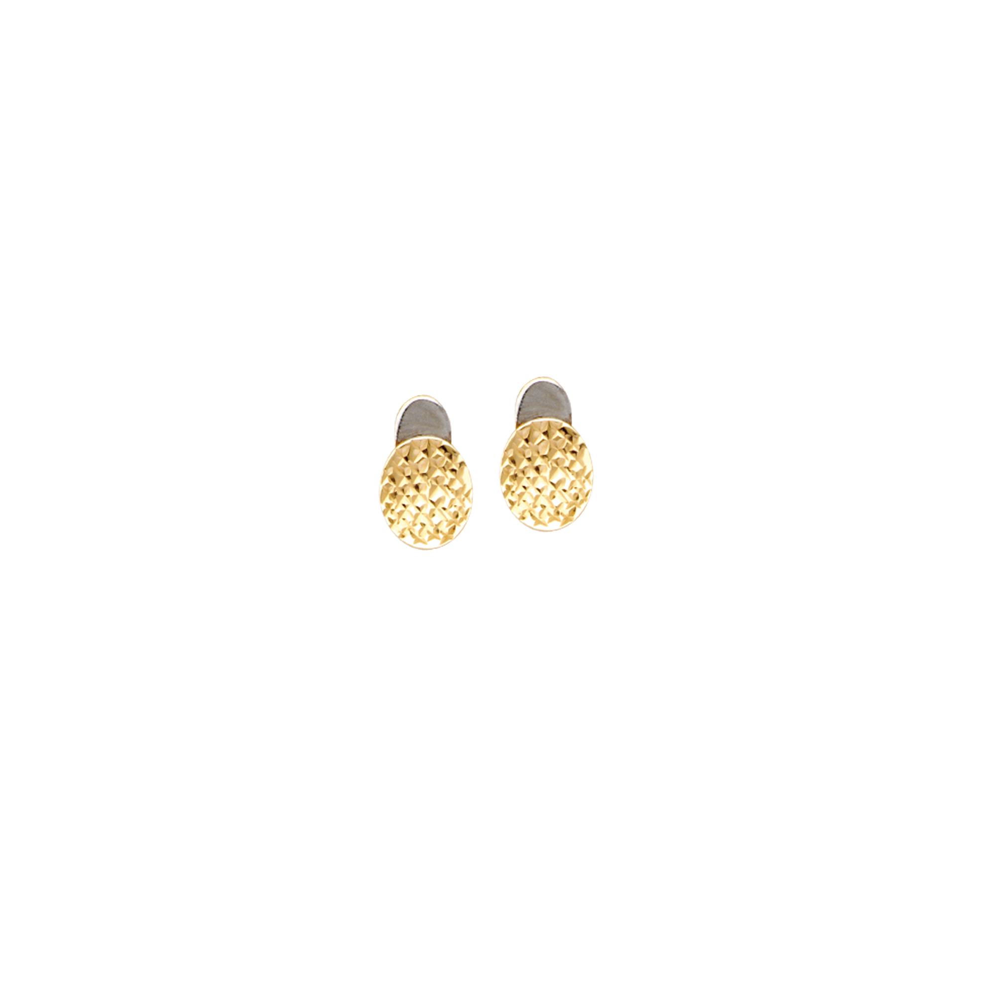 Button Earings, 14Kt Gold Quilt Design Button Earing