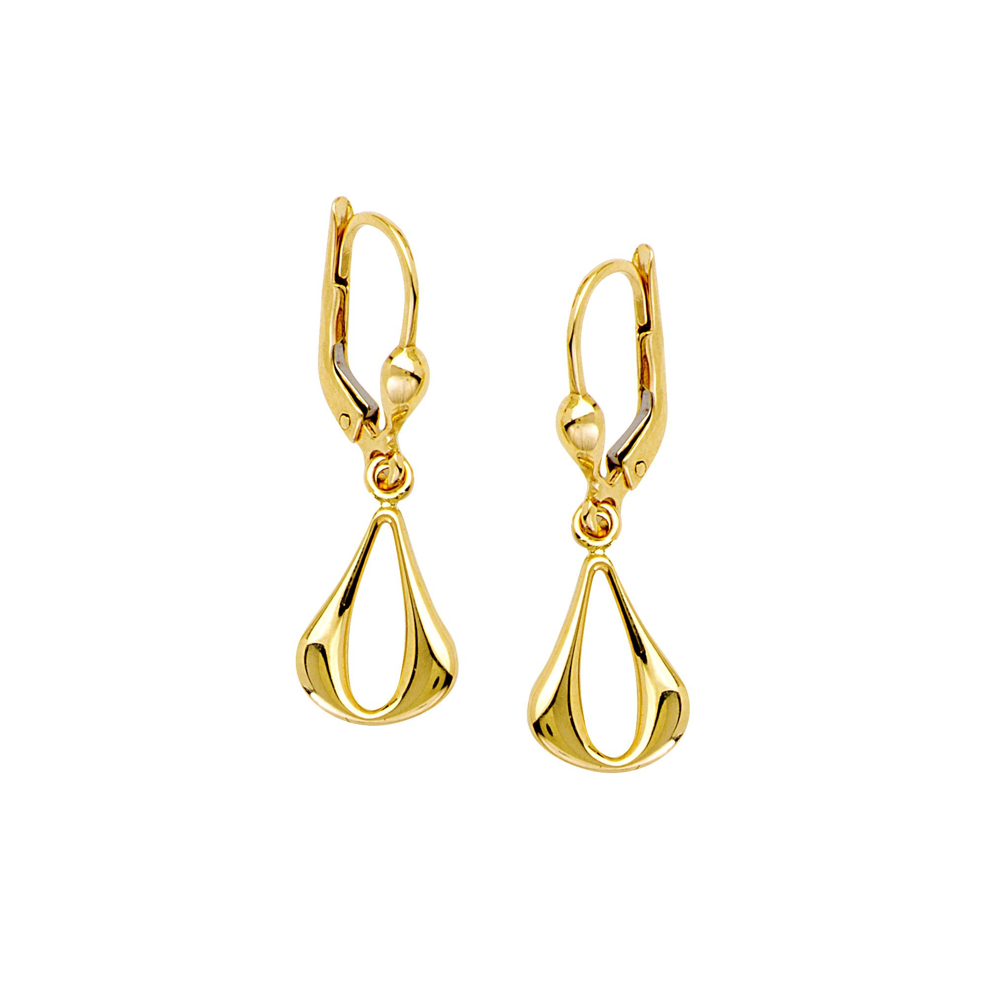 Dangle Earrings, 14Kt Gold  Teardrop Dangle Earring