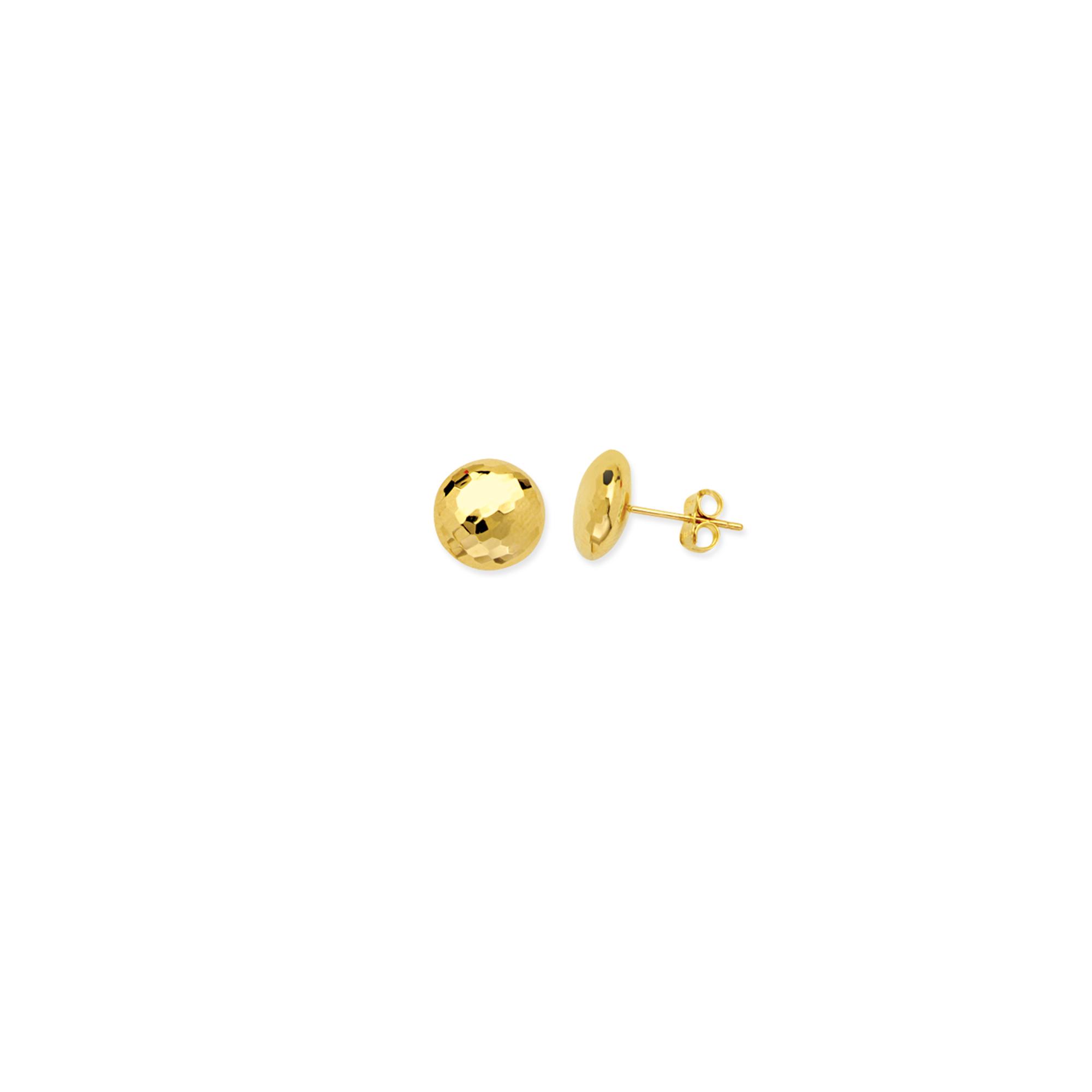 Button Earrings,  14Kt Gold  Button Earring
