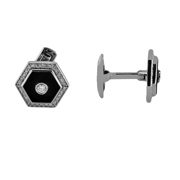 14K White Gold Onyx And Diamond Cufflinks.  0.89Ct