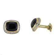 14K Yellow Gold Men'S Cufflinks With Onyx…1Ct