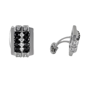 14K White Gold Cufflinks With Black And White Diamonds.  1.20Ct Black Diamonds; And 0.75Ct