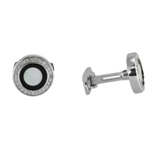 14K White Gold Onyx And Mother-Of-Pearl Cufflinks.  0.65Ct
