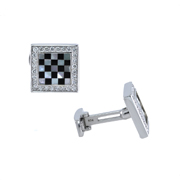 14K White Gold Mother Of Pearl And Onyx Diamond Men'S Cufflinks 0.90 Ctw