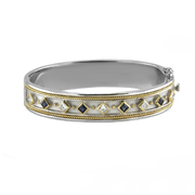 18K Yellow And White Gold Diamond Bangle With Diamonds And Sapphires.  1.70Ct Sapphires And 1.30Ctw.