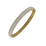 18K Yellow Gold Ladies' Bangle Bracelet.  6.09Ct Total Diamond Weight; Diamond Color: G - H; Clarity: Si.