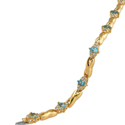 14Kt Diamond And Blue Topaz Bracelet