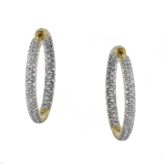 14K Yellow Gold Diamond Hoop Earrings.  4.80Ct