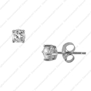 14K White Gold Prong Set Studs.  0.52Ct .