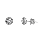 14K White Gold Earrings.  1.01Ct Center And 0.50Ct Surrounding Stones.