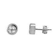 18K White Gold Stud Earrings With Special Cut Diamonds.  4 Stones Put Together  0.84Ct