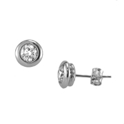 14K White Gold Earring Studs.  1.00C  Center Stone Set In A Bezel.