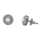 14K White Gold Earring Studs.  0.90 Center Stone