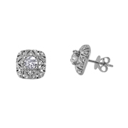 18K White Gold Stud And Jacket Set.1.20Ct