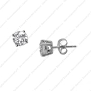 14K White Gold Earring Studs.  1.47Ct