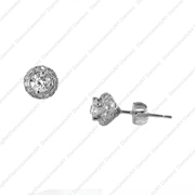 14K White Gold Earrings.  Center Stone Total Weight: 0.60Ct; Side Stone Total Weight: 0.35Ct
