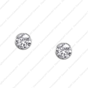 14K White Gold Bezel Set Studs.  0.53Ct
