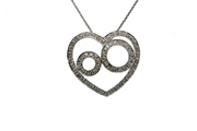 14Kt White Gold Open Heart Diamond Pendant.