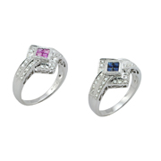 Your Choice Of 14K White Gold Sapphire Or Pink Sapphire Diamond Ring 0.22Ctw