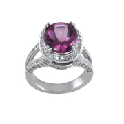 14K White Gold Diamond  And Pink Saphire Ring  .98 Ctw Ps 5.40 Ctw