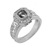 18K White Gold Diamond Engagement Setting 0.50 Ctw.Trillions On Sides, 0.45 Ctw.Rounds Center For 0.80 Ctw.Cushion Cut Diamond