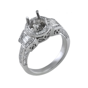 18K White Gold Diamond Engagement Setting 0.34 Ctw. 2 Trappazoid Diamonds, 0.55 Ctw. Round Diamonds, Center For 1 Ctw. Round Diamond 6.5mm