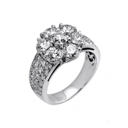14K White Gold Diamond Ring 3.15Ctw
