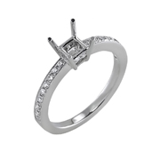 18K White Gold Diamond Engagement Setting 0.24 Ctw. Round Diamonds, Center For 0.50 Ctw. Princes Diamond 4X5mm