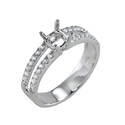 18K White Gold Diamond Engagement Setting 0.31 Ctw. Round Diamonds, Center For 0.40 Ctw. Round Diamond 5.5mm