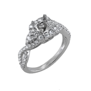 18K White Gold Diamond Engagement Setting 0.80 Ctw. Round Diamonds, Center For 0.75 Ctw. Princes Diamond 5.5mm