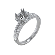 18K White Gold Diamond Engagement Setting 0.48 Ctw. Round Diamonds, Center For 1 1/4 Ctw.Princes Cut Diamond 6.3mm
