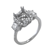 18K White Gold Diamond Engagement Setting 0.56 Ctw.Princes 2.11 Ctw.Rounds Center 1.50 Ctw. For Princes Cut Diamond 6.5X6.5mm