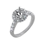 18K White Gold Diamond Engagement Setting 1.10 Ctw. Round Diamonds, Center For 2 - 2 1/4 Ctw. Round Diamond 8mm