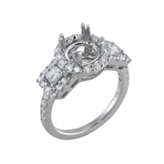 18K White Gold Diamond Engagement Setting 0.32 Ctw. 2 Princes Diamonds, 0.72 Ctw. Round Diamonds, Center For 2 Ctw. Round Diamond 8mm