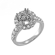 18K White Gold Diamond Engagement Setting  0.40 Ctw. Round Diamonds, Center For 0.75- 1 Ctw. Round Diamond 6mm