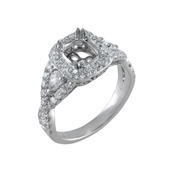 18K White Gold Diamond Engagement Setting 0.28 Ctw. 2 Pear Shape Diamonds,0.32 Ctw. Round Diamonds, Center For 1 Ctw. Cushion Diamond 6X5mm