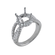 18K White Gold Diamond Engagement Setting 0.95 Ctw. Round Diamonds, Center For 1.5 - 2 Ctw. Round Diamond 7mm