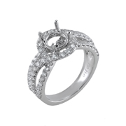 18K White Gold Diamond Engagement Setting 1.20 Ctw. Center For 1-1 1/4 Ct. Round Stone 6-6.5mm
