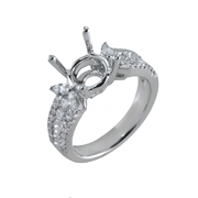 18K White Gold Diamond Engagement Setting 0.60 Ctw. Round Diamonds, 0.30 Ctw.Marque Stones, Center For 2 1/2 - 3 Ctw. Round Diamond 9mm