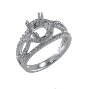 18K White Gold Diamond Engagement Setting 0.73 Ctw. Round Diamonds, Center For 1 - 1 1/4 Ctw. Round Diamond 7mm