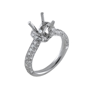 18K White Gold Diamond Engagement Setting 0.68 Ctw. Round Diamonds, Center For 0.75 - 1 Ctw. Round Diamond 6.5mm