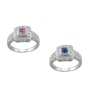 Your Choice Of 14K White Gold Sapphire Or Pink Sapphire Diamond Ring 0.23Ctw